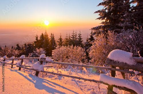 Papiers peints Morning Glory Sonnenuntergang im Winter