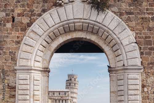 Deurstickers Toscane Frame of Leaning Tower of Pisa, Tuscany, Italy