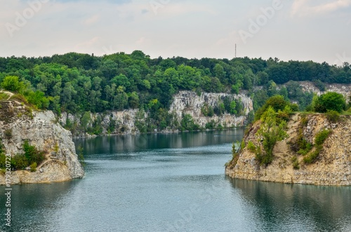 Beautiful quarry with blue water. Water reservoir Zakrzowek in Krakow, Poland.