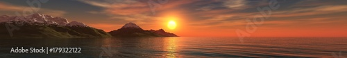 Foto op Canvas Baksteen Sunset over the mountains in the sea, banner, 3D rendering