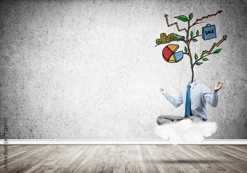 Headless businessman meditating Poster