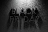 Black Friday text on black slate background - 179327946