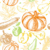 Decorative seamless pattern with Ink hand drawn pumpkins, pears, zucchini, apples and maple, oak leaves. Autumn harvest elements texture. Vector illustration. - 179328150