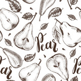 Decorative seamless pattern with Ink hand drawn varied pears. Autumn harvest elements texture. Vector illustration. - 179328390