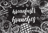 Background with ink hand-drawn food and drinks. Breakfast and brunch elements composition with brush calligraphy style lettering. Vector illustration. Menu, signboard, leaflet design template. - 179328543