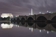 DC bridge reflection at night