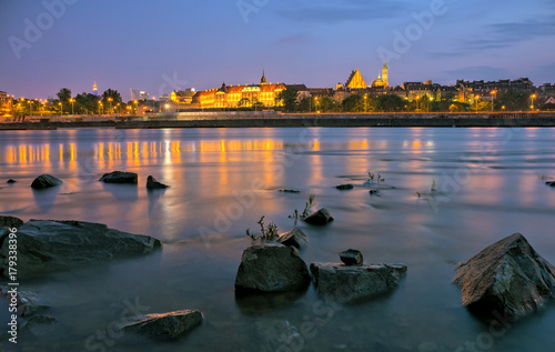 Evening view from the river to the old town in Warsaw. HDR - high dynamic range