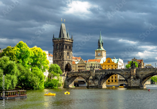 Landscape of the romantic city of Prague under a blue sky Poster