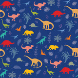 Pattern with different kinds of dinosaurs, plants and leaves © nataliasheinkin