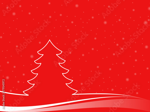 Papiers peints Brique Abstract christmas tree in a minimal landscape with snowflakes. christmas illustration with red background and white shapes