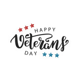 Vector isolated lettering for 11th November, Veterans Day lettering for decoration and covering on the white background. Concept of Memorial day in USA. - 179342985