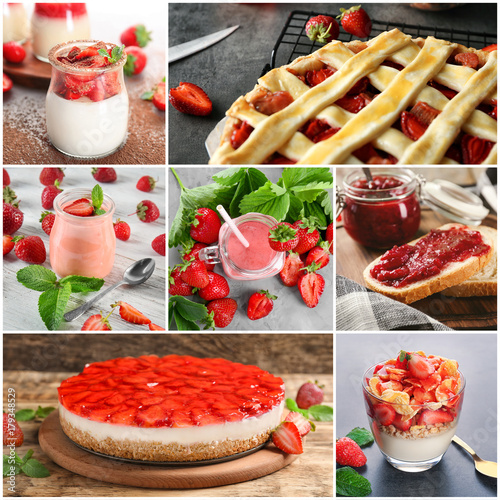 Collage of different dishes with strawberry © Africa Studio