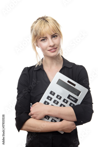 woman with large calculator - 179351538