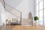 White living room interior, stairs, armchair - 179357386