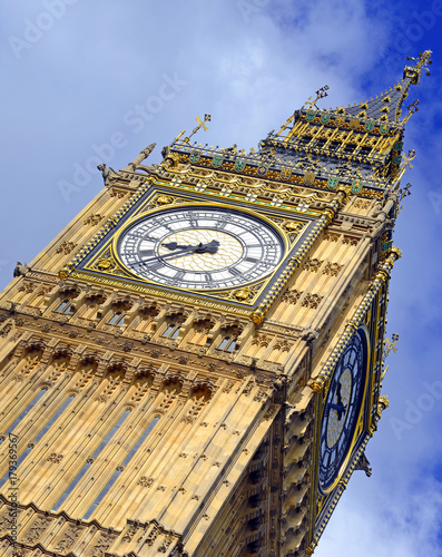 Big Ben clock tower, also known as Elizabeth Tower near Westminster Palace and H Poster