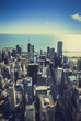 Chicago Skyline Aerial Skyscrapers. Vintage tone