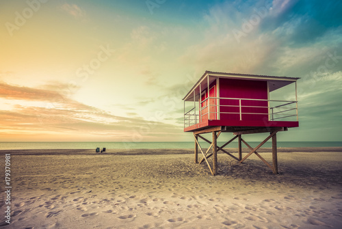 Aluminium Strand Lifeguard Tower low angle shoot at sunset, Michigan, United States