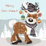 Christmas Illustration  Cute Deer In Hat Scarf Between Snowflakes Wall Sticker