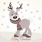 Christmas or New Year illustration with cute deer, scarf and snowflakes - 179373532