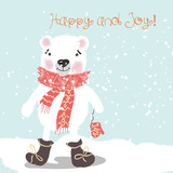 Christmas or New Year illustration with cute white bear and air balloons. Retro style vector card - 179373564