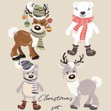 Christmas set of vector cartoon animals bears and deers - 179373750