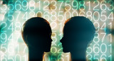 Computer code digits and robot ai head