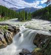 Beautiful Sunwapta falls and small island on the river in Jasper National Park, Alberta, Canada.
