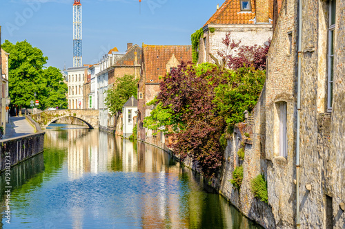 Tuinposter Brugge Bruges (Brugge) cityscape with water canal and bridge