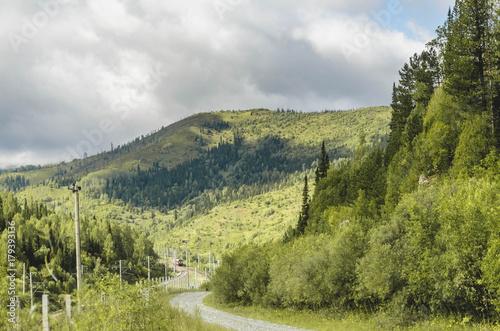 Foto op Canvas Pistache Gloomy autumn mountain landscape.