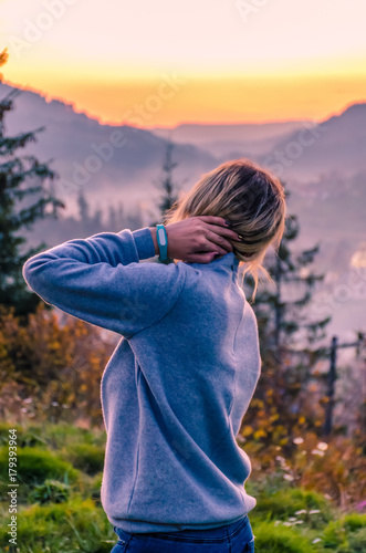 Foto op Canvas Lavendel Ukrainian Carpathian Mountains landscape background during the sunset in the autumn season