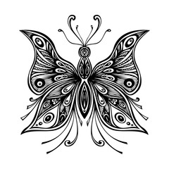 Zentangle lace butterfly for tattoo or coloring page