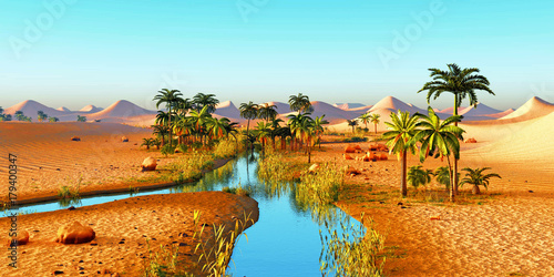 Papiers peints Turquoise Lush spectacular plants on wilderness in the evening, 3d rendering