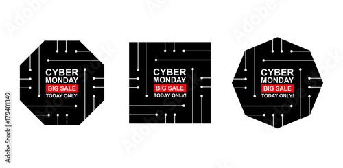 Cyber monday sale labels set