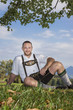 bavarian tradition man in the grass