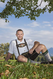 bavarian tradition man in the grass - 179407570