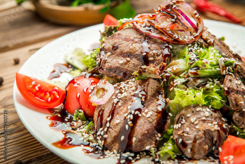 Traditional Georgian cuisine, grilled meat - 179410738