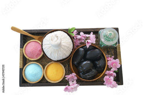 Fotobehang Spa Thai Herbal Compress , hot stones , salt water for Thai traditional massage and spa treatment isolated on white background
