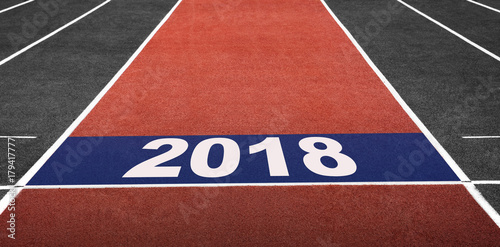 Concept for 2018 Year, Present on Start Line in Running Track at Arena Stadium