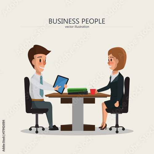 business people meeting. business man and business woman talking character.
