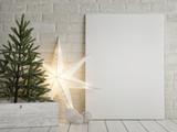 Mock up poster, Christmas tree and light star decoration, 3d render, 3d illustration