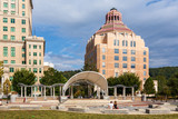 City Hall stands tall above Pack Square Park in Asheville, North Carolina