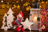Christmas background with lantern light and decor. - 179444343