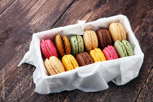 Foto op Aluminium Macarons Different types of macaroons or macarons in a box.