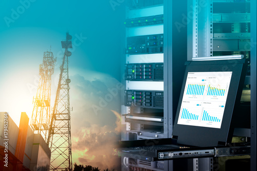 Management monitor with charts on screen in data center and telecommunication tower on blue sky with cloud, double exposure Poster