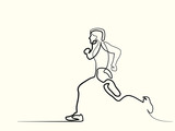 Continuous line drawing. Sport running man. Vector illustration. Concept for logo, card, banner, poster flyer