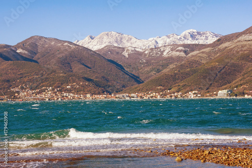 Fotobehang Cappuccino View of Bay of Kotor (Adriatic Sea) on a windy winter day. Tivat, Montenegro