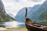 Beautifull view of Viking drakkar at the end of the Sognefjord between Flam and Gudvangen in Norway. - 179464331