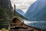 Fototapety Beautifull view of Viking drakkar at the end of the Sognefjord between Flam and Gudvangen in Norway.