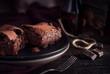 Brownie chocolate cake on dark moody background - 179464901