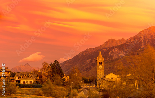 Fotobehang Koraal sunset mountain with colorful sky